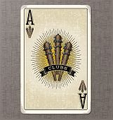 Постер, плакат: Vintage playing card Ace of clubs with illustration of 3 primitive clubs and ribbon banner