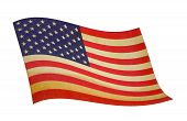 stock photo of waving american flag  - retro wavy american flag with well visible cloth texture - JPG