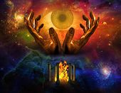 stock photo of all seeing eye  - High Resolution All seeing Eye and Space - JPG