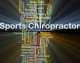 picture of chiropractor  - Background concept wordcloud illustration of sports chiropractor glowing light - JPG