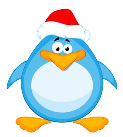 picture of santa claus hat  - cartoon little penguin on a white background for a design - JPG