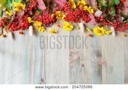 poster of Autumn background with seasonal autumn Viburnum berries and autumn flowers on the wooden background. Autumn concept. Autumn background with space for text. Autumn still life. Autumn natural background