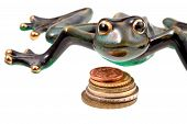 stock photo of phylacteries  - ceramic frog and coins isolated on white - JPG