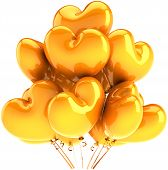 pic of happy birthday  - Party balloons heart shaped orange yellow decoration - JPG