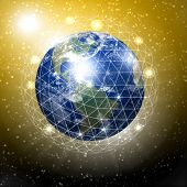 stock photo of planet earth  - our planet earth with communication links around - JPG