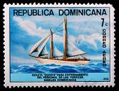 Dominican Republic - Circa 1978: A 7-centavo Air Mail Stamp Printed In The Dominican Republic Shows