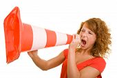 Woman Screaming In Traffic Cone