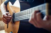 Musician Playing Acoustic Guitar, Live Music Background poster