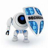Robot y escudo