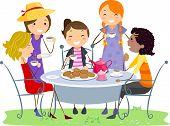 Abbildung der Damen mit einer Tea-Party
