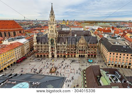 poster of Aerial Cityscape Of Munich Historical Center With New Town Hall, Town Hall On Marienplatz. Munich. G