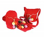 Red Woolen Bag, Hat And Scarf Isolated On White
