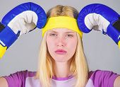 Strong Woman Suffer Pain. Girl Painful Face Embrace Head With Boxing Gloves. Headache Remedies. Head poster