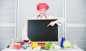 Actual Advertising. Chief Cook Presenting Something In Cooking School. Pretty Woman Pointing Finger  poster