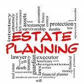 picture of word charity  - Estate Planning Word Cloud Concept in red caps with great terms such as durable will financial lawyer executor probate and more - JPG