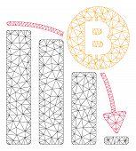 Mesh Bitcoin Panic Fall Chart Model Icon. Wire Carcass Polygonal Mesh Of Vector Bitcoin Panic Fall C poster