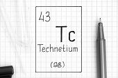 The Periodic Table Of Elements. Handwriting Chemical Element Technetium Tc With Black Pen, Test Tube poster