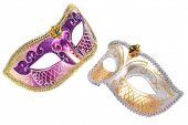 Two Carnival Venetian mask isolated on white background