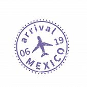 Mexico International Travel Visa Stamp On White. Arrival Sign Purple Rubber Stamp With Texture poster