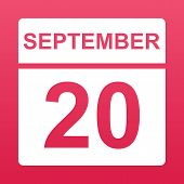 September 20. White Calendar On A  Colored Background. Day On The Calendar. Twentieth Of September.  poster