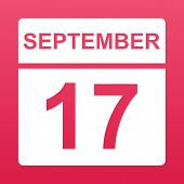 September 17. White Calendar On A  Colored Background. Day On The Calendar. Seventeenth Of September poster