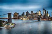 Twilight View Of Lower Manhattan With Brooklyn Bridge. poster