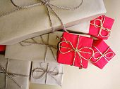 Red Paper Present Box & Golden Gift Ribbon Background. Red Box For Surprise, Giving Gift Present Con poster