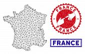 Wire Frame Polygonal France Map And Grunge Seal Stamps. Abstract Lines And Small Circles Form France poster