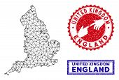 2d Polygonal England Map And Grunge Seal Stamps. Abstract Lines And Small Circles Form England Map V poster