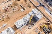 Construction Site With Industrial Equipment And Tower Crane. Development Of New Residential Area. Ae poster