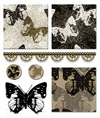 Contemporary Butterfly repeat seamless patterns and icons.  Use to create striking items such as cus