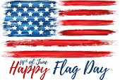 Happy Flag Day 14th Of June. United States Of America Day Greeting Card. American Flag Symbol With P poster