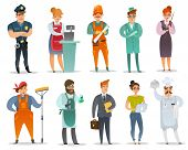Cartoon Different Professions Characters Set. The Set Of Isolated Characters In The Uniforms Of Vari poster
