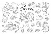 Cheese Sketch. Hand Drawn Milk Products, Gourmet Food Slices, Cheddar Parmesan Brie. Vector Breakfas poster