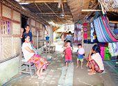 LOMBOK, INDONESIA - FEBRUARY 14: Sasak unidentified family in the village Sade, 4 February , 2004 at