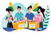 Toys And Kids Clothes Donation. Vector Trendy Flat Cartoon Illustration. Social Care, Volunteering A poster