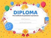 Graduate Diploma. School Graduation, Graduates Congratulations And Preschool Kid Or Kindergarten Cer poster