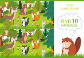 Forest Animals Find Differences Game. Educational Kids Games Characters, Woodland Animal And Wild Fo poster