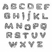 black and white font in the style of ethnic