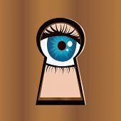 Eye looks through keyhole.
