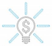 Mesh Business Idea Bulb Polygonal Icon Vector Illustration. Carcass Model Is Based On Business Idea  poster