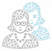 Mesh Clever Women Polygonal Icon Vector Illustration. Model Is Based On Clever Women Flat Icon. Tria poster