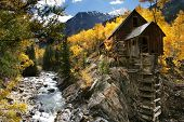 pic of water-mill  - The old Crystal Mill located in the rocky Mountains, Colorado