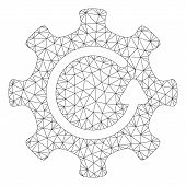 Mesh Cog Rotation Direction Polygonal Icon Vector Illustration. Carcass Model Is Created From Cog Ro poster