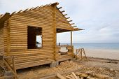 image of trussle  - Construction of a new camping on coast of a sea bay - JPG
