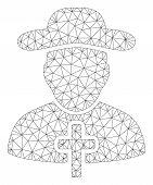 Mesh Christian Priest Polygonal 2d Vector Illustration. Model Is Based On Christian Priest Flat Icon poster