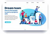 Web Page Flat Design Template For Dream Team. Business Landing Page Findings Your Own Dream Team To  poster
