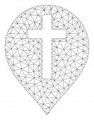 Mesh Christian Cross Marker Polygonal Icon Vector Illustration. Carcass Model Is Created From Christ poster