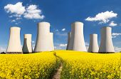 Nuclear Power Plant Jaslovske Bohunice Cooling Towers With Golden Flowering Field Of Rapeseed, Canol poster