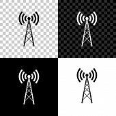 Antenna Icon Isolated On Black, White And Transparent Background. Radio Antenna Wireless. Technology poster